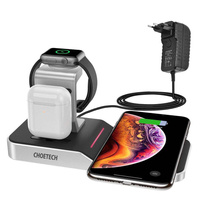 Choetech MFI Wireless Charger qi charging 4in1station for smartphone / Apple Watch / AirPods 10W black (T316)