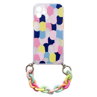Color Chain Case gel flexible elastic case cover with a chain pendant for iPhone 11 multicolour