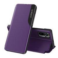 Eco Leather View Case elegant bookcase type case with kickstand for Xiaomi Redmi Note 10 Pro purple