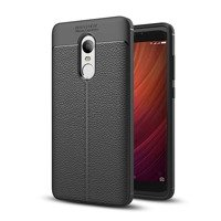 Litchi Pattern Flexible Cover TPU Leather Case for Xiaomi Redmi 5 Plus / Redmi Note 5 (single camera) black