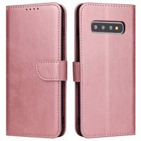 Magnet Case elegant bookcase type case with kickstand for Samsung Galaxy S10 pink