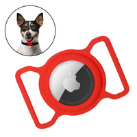 Silicone flexible cover pet dog cat collar loop case for Apple AirTag red