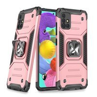Wozinsky Ring Armor Case Kickstand Tough Rugged Cover for Samsung Galaxy A51 5G pink