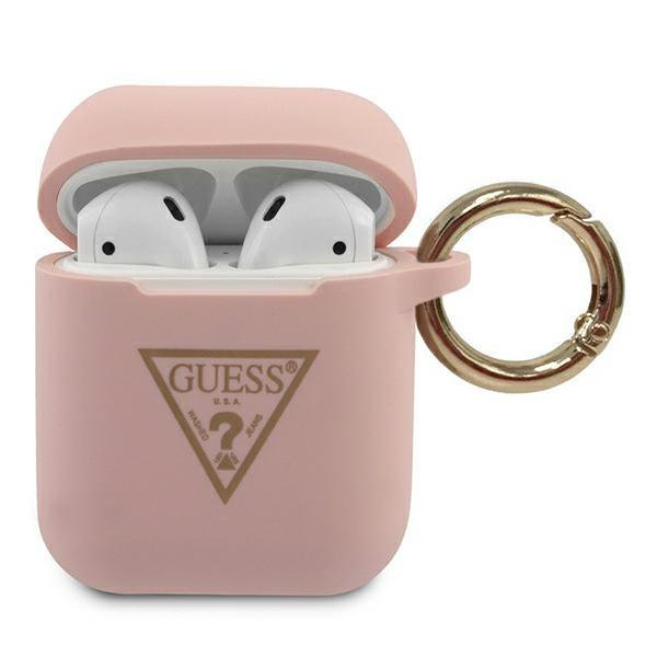 Guess GUACA2LSTLPI AirPods cover pink / pink Silicone Triangle Logo