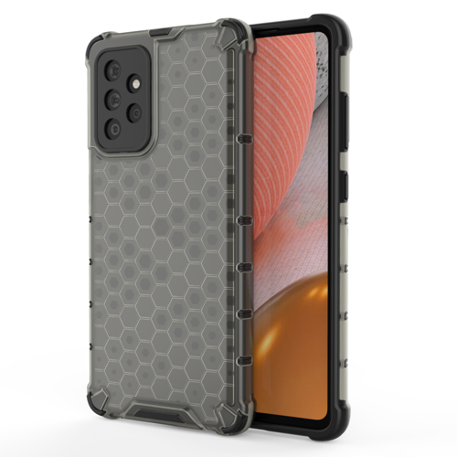 Honeycomb Case armor cover with TPU Bumper for Samsung Galaxy A72 4G black