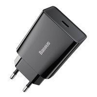 Baseus Speed Mini ładowarka sieciowa zasilacz EU do szybkiego ładowania USB Typ C 20W 3A czarny (CCFS-SN01)