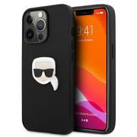 """Karl Lagerfeld KLHCP13XPKMK iPhone 13 Pro Max 6,7"""" czarny/black hardcase Leather Ikonik Karl`s Head Metal"""