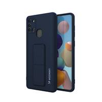 Wozinsky Kickstand Case elastyczne silikonowe etui z podstawką Samsung Galaxy A21S ciemnoniebieski