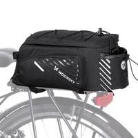Wozinsky Torba rowerowa na bagażnik z paskiem na ramię 9L (pokrowiec przeciwdeszczowy w zestawie) czarny (WBB22BK)
