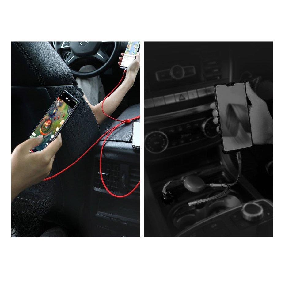 Baseus kabel 3w1 USB micro USB Lightning USB Typ C przewód w nylonowym oplocie 3.5A 1m czerwony (CAMLT FX09)