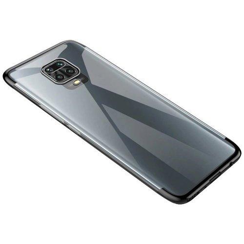 Clear Color case żelowy pokrowiec etui z metaliczną ramką Motorola Moto G9 Play czarny