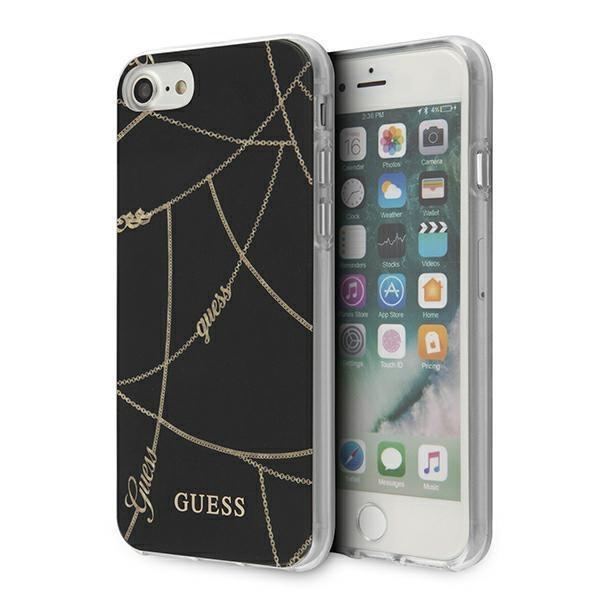 Guess GUHCI8PCUCHBK iPhone 7/8/SE 2020 czarny/black hardcase Gold Chain Collection