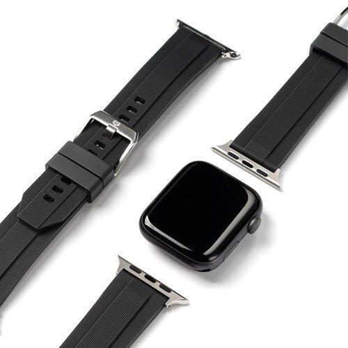 Ringke Rubber One silikonowa bransoleta opaska pasek do zegarka smartwatch Watch 6 44mm / Watch 5 44mm / Watch 4 44mm / Watch SE 44mm czarny (AW-B-44-10)